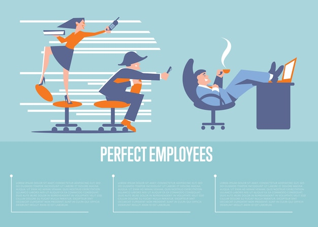 Banner di dipendenti perfetti con uomini d'affari