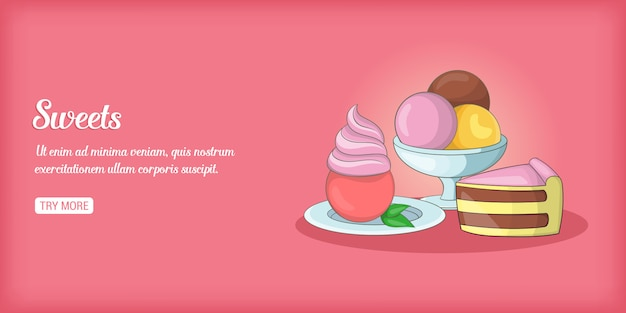 Banner di dolci orizzontale, stile cartoon