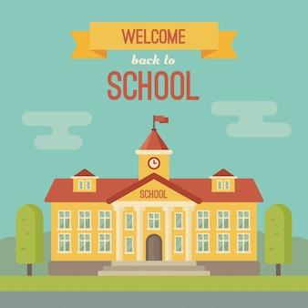 Banner di edificio scolastico con testo bentornato a scuola