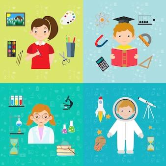 Banner di educazione e apprendimento di design piatto