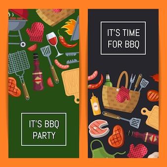 Banner di elementi barbecue o grill con posto per l'illustrazione del testo