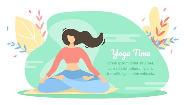 Banner di estate è scritto yoga time cartoon flat