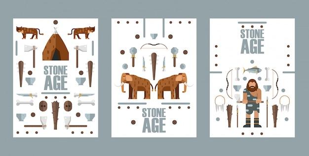 Banner di età della pietra, illustrazione. icone in stile piatto dell'era paleolitica, animali estinti e armi da caccia primitive.