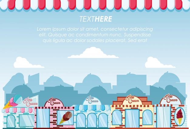 Banner di facciate di edifici set di gelateria
