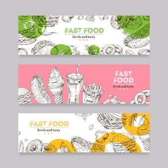 Banner di fast food con schizzo di cibo