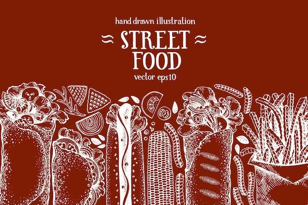 Banner di fast food disegnato a mano. cibo di strada