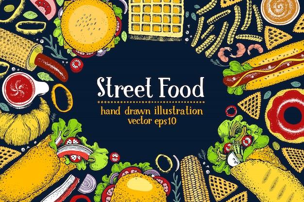 Banner di fast food disegnato a mano. priorità bassa di vista superiore di cibo di strada.