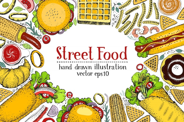 Banner di fast food disegnato a mano.