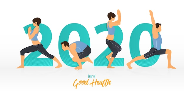 Banner di felice anno nuovo 2020 con yoga pone