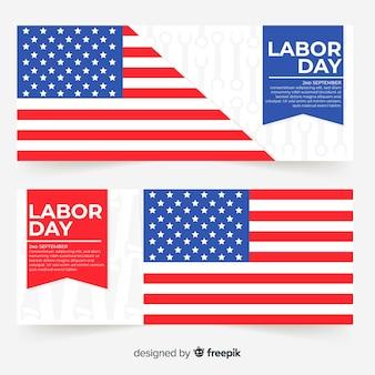 Banner di festa del lavoro negli stati uniti in stile piano