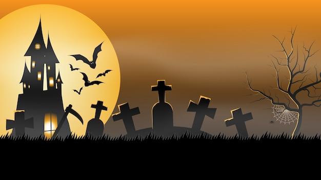 Banner di festa di halloween, luna piena, casa stregata nel cimitero. manifesto dell'invito del partito di festa, biglietto di auguri, invito a una festa, illustrazione vettoriale.