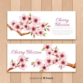 Banner di fiori di ciliegio disegnati a mano