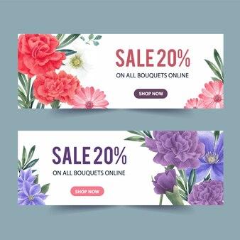 Banner di fioritura invernale con peonia, gerbera