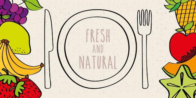 Banner di forchetta e coltello piatto di dieta gustosa frutta fresca e naturale