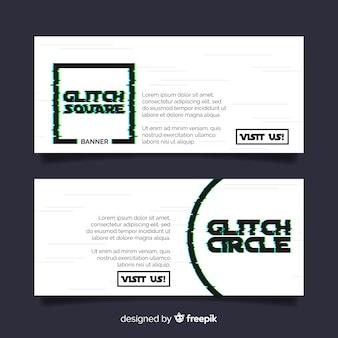 Banner di forma geometrica glitch