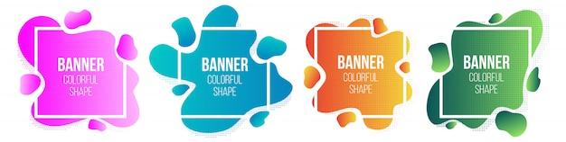 Banner di forma semplice geometrico stile liquido cornici.