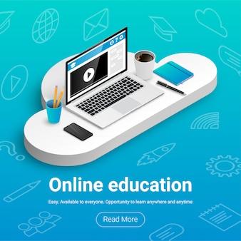 Banner di formazione online. posto di lavoro isometrico per studio e lavoro su cloud con icone e testo.