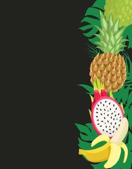Banner di frutti tropicali con cibo esotico e foglie