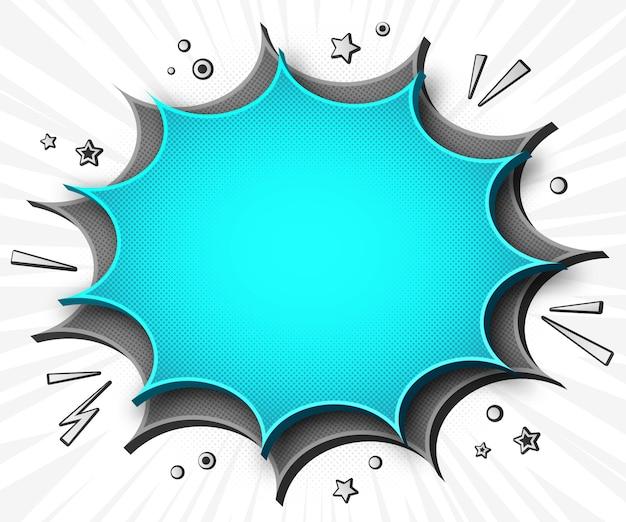 Banner di fumetti cartoonish in stile pop art con bolle di discorso grigio - blu