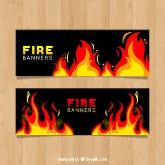 Banner di fuoco design piatto