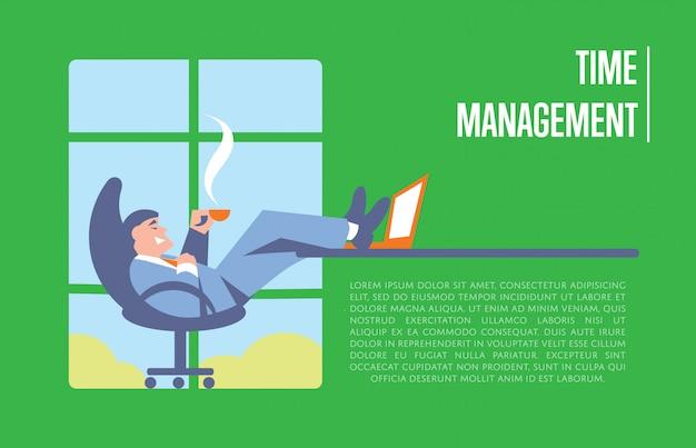 Banner di gestione del tempo con uomo d'affari