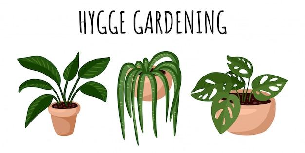 Banner di giardinaggio hygge