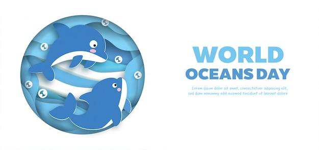 Banner di giornata mondiale degli oceani con simpatico delfino in stile taglio carta.