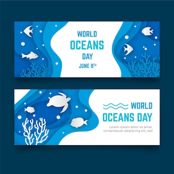 Banner di giornata mondiale degli oceani in stile carta