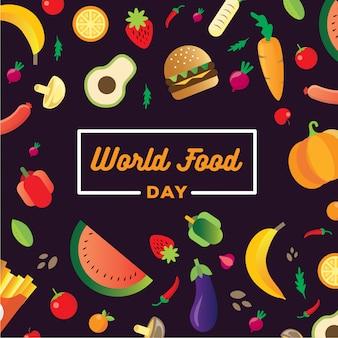 Banner di giornata mondiale dell'alimentazione con un mucchio di cibo e frutta nel cestino