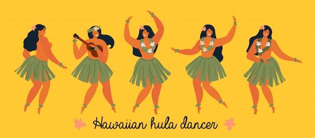 Banner di giovane donna graziosa ballerini di hula hawaiana
