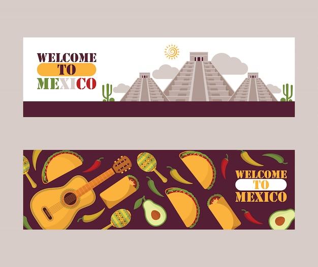 Banner di giro turistico del messico icone piane della cultura messicana cucina nazionale e attrazioni turistiche