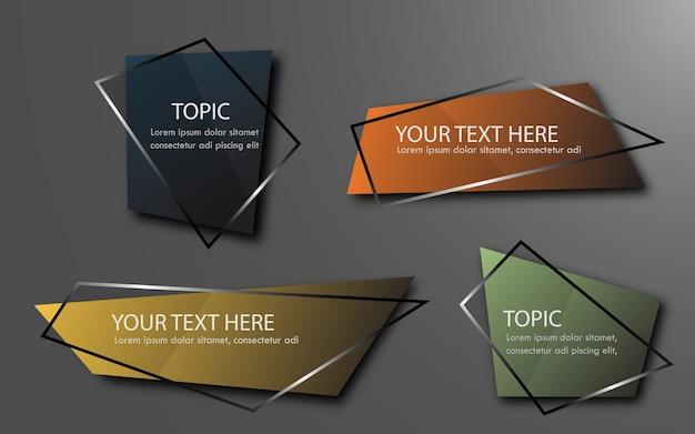 Banner di glitter grometry, scroll, cartellino del prezzo, adesivo, badge, poster. illustrazione vettoriale
