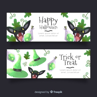 Banner di halloween ad acquerello con gatti arrabbiati