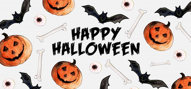 Banner di halloween ad acquerello