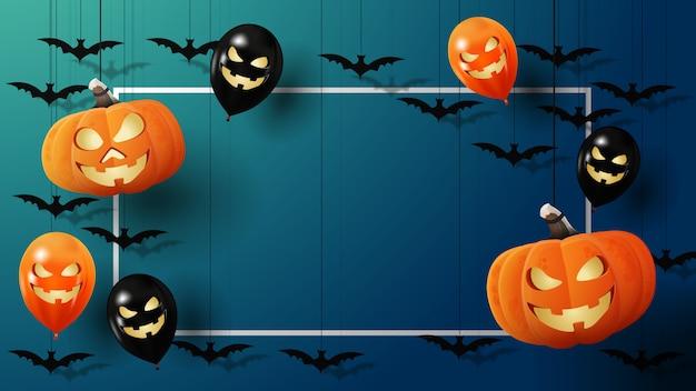 Banner di halloween con cornice per il testo, pipistrelli, zucche e palloncini