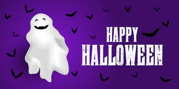 Banner di halloween con fantasmi e pipistrelli