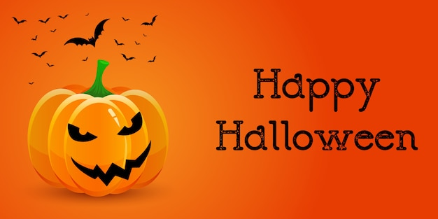 Banner di halloween con zucca e pipistrelli