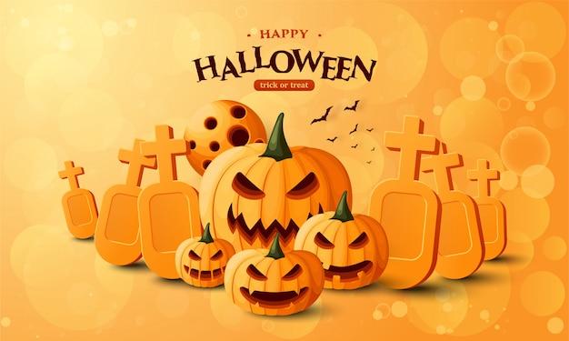 Banner di halloween con zucca e tomba