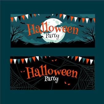 Banner di halloween design piatto