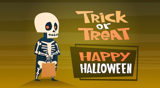 Banner di halloween felice con dolcetto o scherzetto scheletro simpatico cartone animato