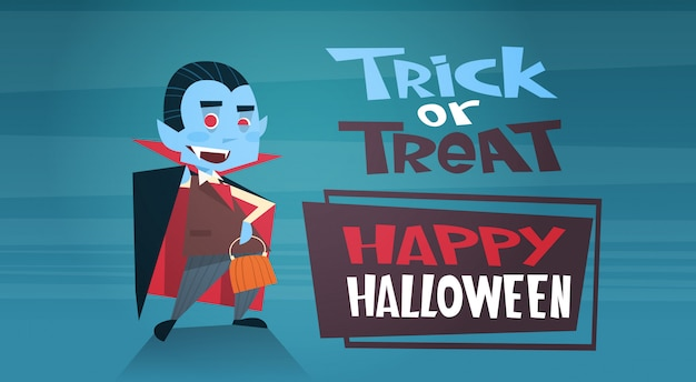 Banner di halloween felice con simpatico cartone animato dracula dolcetto o scherzetto
