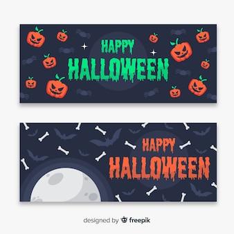 Banner di halloween piatto di ossa e zucche volanti