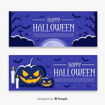 Banner di halloween piatto notte di ottobre
