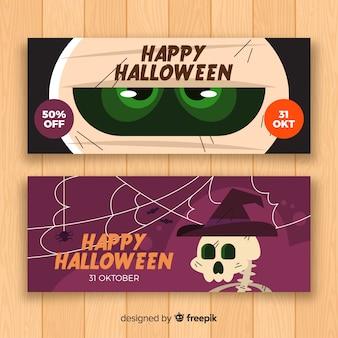 Banner di halloween piatto