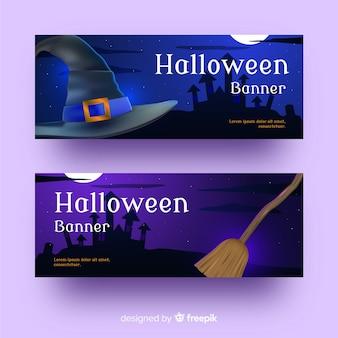 Banner di halloween realistico di stregoneria