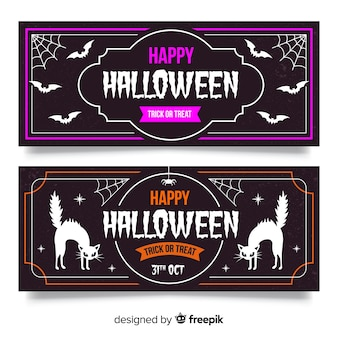 Banner di halloween vintage con pipistrello e gatto nero