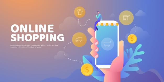 Banner di illustrazione online dello shopping