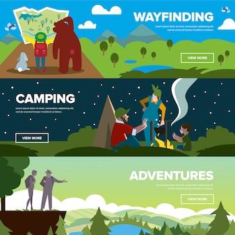 Banner di indicazioni stradali, campeggio e avventure