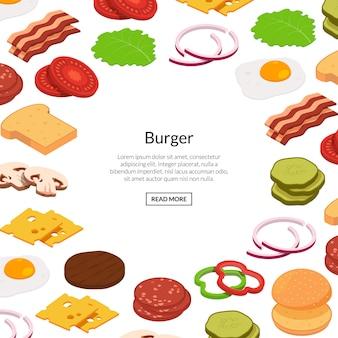 Banner di ingredienti hamburger isometrica