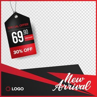 Banner di instagram con cartellino del prezzo